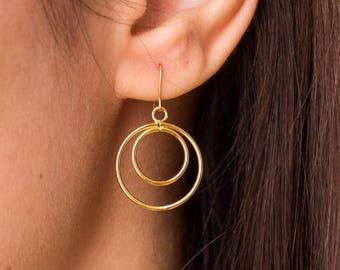 Satellite -earrings (16K gold plated celestial circular geometric post hoop)