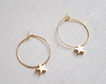 Bella -earrings (small halo hoop earrings with star celestial charms minimal every day 16k gold plated)
