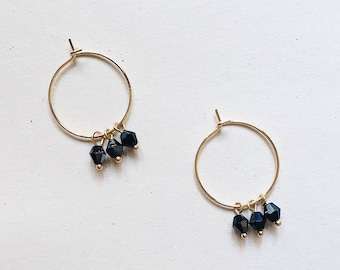 Bianca -earrings (small halo hoop earrings with triple bead charms minimal every day 16k gold plated)