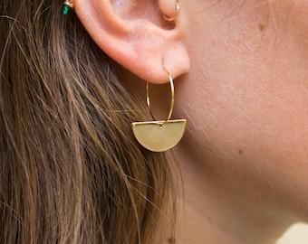Artemis -earrings (semi circle geometric hoop earrings minimal every day 16k gold plated)