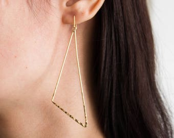 Ilana -earrings (16K gold plated triangular abstract geometric shape with texture)