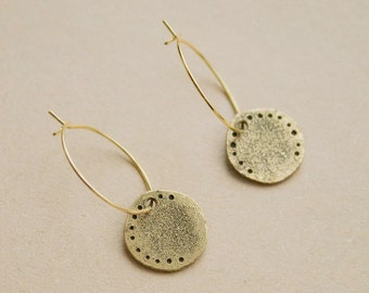 Coin -earrings (14k gold plated ancient coin hoop earrings)