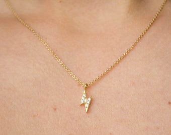 Thunderbolt -necklace (16K gold plated charm 14K gold plated chain bolt thunder celestial cubic zirconia)