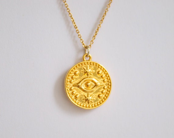 Nazar -necklace (gold plated evil eye hand of fatima good luck coin charm necklace)