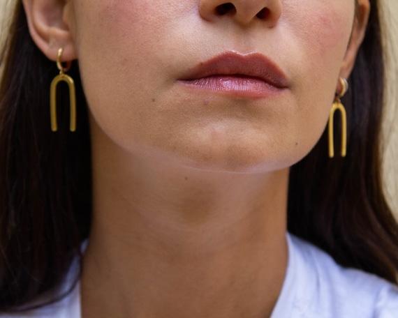Magnet -earrings (gold plated abstract shape rainbow linear geometric lucky charm)