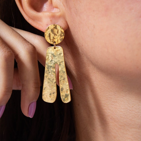 Esta -earrings (statement hammered minimal abstract shape)