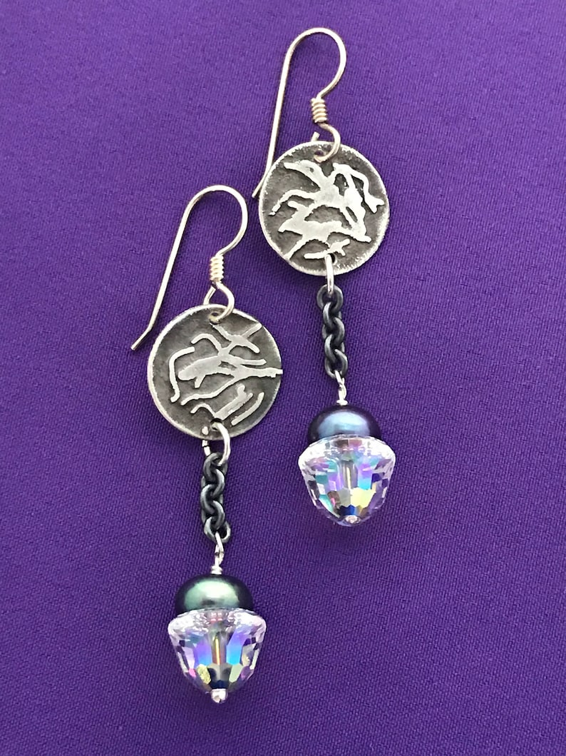 Handmade Midlength Dangle Earrings  Earrings with Chain  image 0