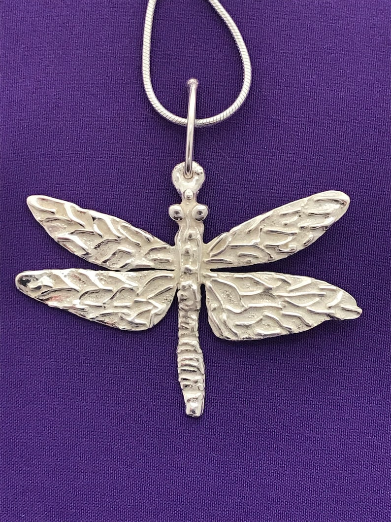 Sterling silver Dragonfly Pendant. This nicely textured image 0