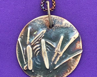 Bamboo Round Pendant - Mixed Metals Pendant - Oriental Design Pendant Necklace - Japanese Design - Colorful Raku Chain