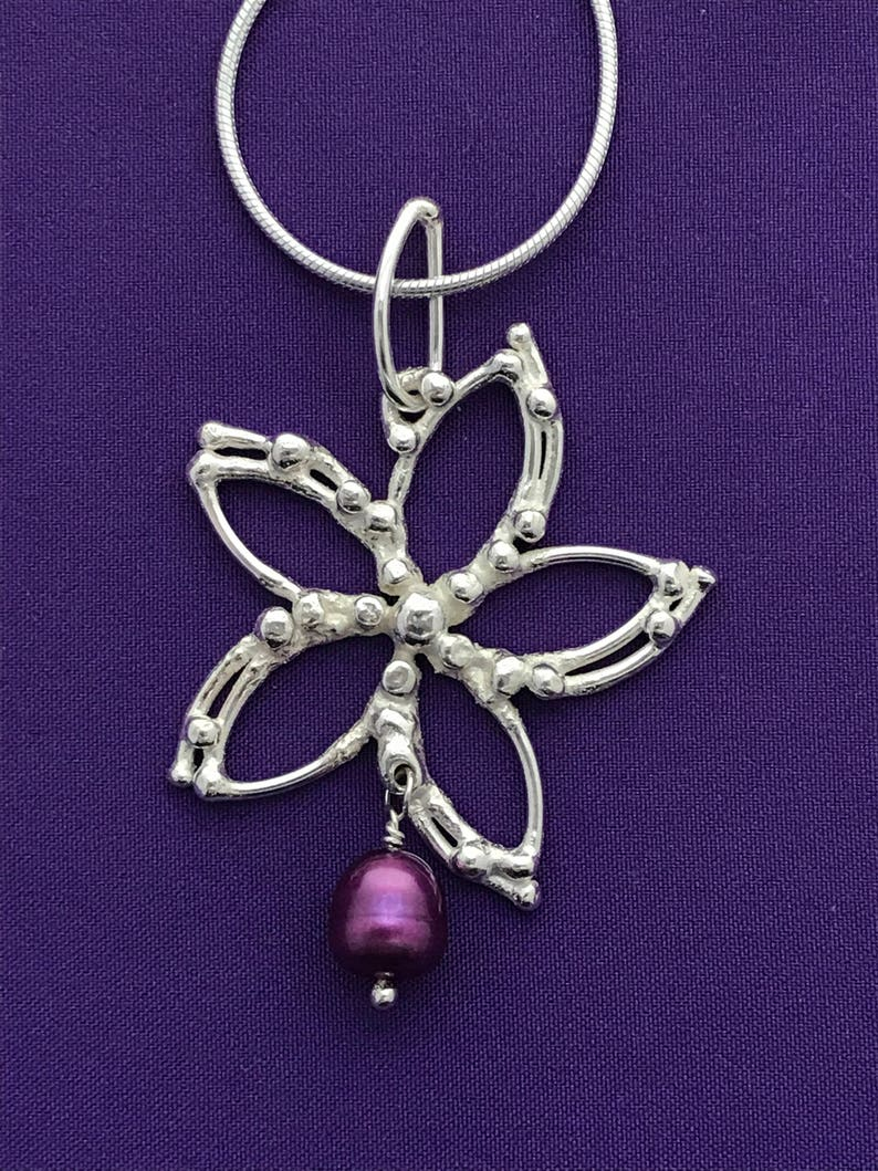 Handcrafted Clematis Flower Pendant  Botanical Jewelry  image 0