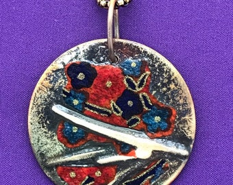 Cherry Blossom Pendant - Mixed Metals Jewelry - Copper and Silver Jewelry - Decoupage  - Colorful Jewelry - Japanese Asian Designs