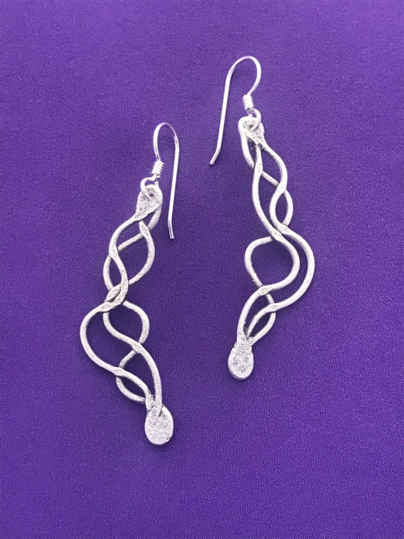 Sound Wave Jewelry-Sound Wave Earrings-Long Dangle Silver image 0