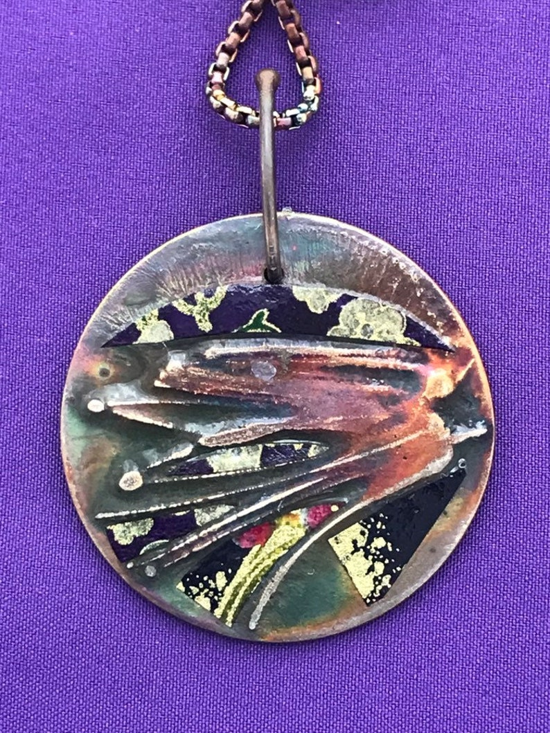 Confetti Colorful Pendant  Mixed Metals Jewelry  Copper and image 0
