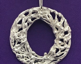 Handcrafted Round Pendant - Silver Circle Pendant - Open Circle Pendant - Textured Silver Pendant - Lace - Round Textured Pendant