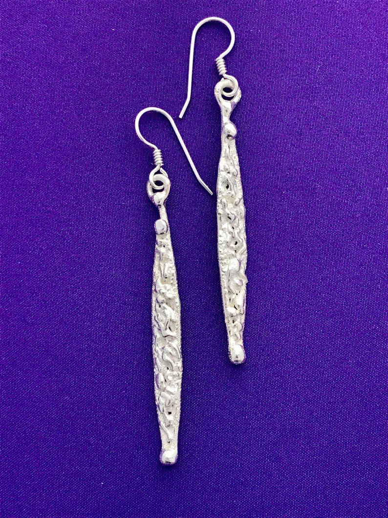 Handcrafted  Dangle Earrings  Long and Skinny Silver Earrings image 0
