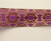 Purple and Gold Wired Edge Polyester Ribbon, 2.5 inches wide by 7 yards long