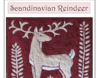 Needle Felt Craft Kit Scandinavian Deer Reindeer Tapestry  DIY Made in Vermont
