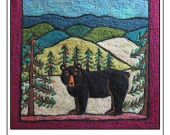Needle Felt Kit Black Bear Tapestry Craft Kit -Green Mountain Black Bear or Smoky Mountain Black Bear
