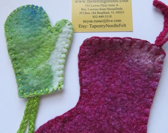 Handcrafted Felt Christmas Ornament Craft 10 Mitten Pairs & 5 Stocking Pairs Ready for your lovely decoration