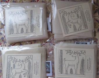Needle Felt Reindeer designs Pre Sketched Design 4 pack Scandinavian Christmas