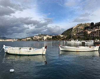 Boats in the Harbor by Nafplio Port - Nafplio, Greece : Photography Print, Art Print, Wall Decor, Home Decor, City, Mountain, Bay, Water