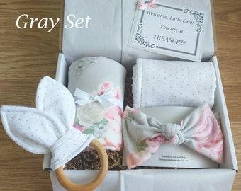 Baby Girl Gift, Baby Shower Gift, Baby Gift Set, Baby Gift Basket, Personalized Card, Swaddle Blanket, Headband/bow, Teether, Onesies