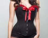 Bespoke Black feather brocade overbust corset with red satin trim and bow