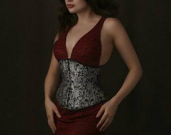 22\u201d Black Floral broche coutil tightlacing waist training corset shapewear lingerie authentic Morgana Femme Couture