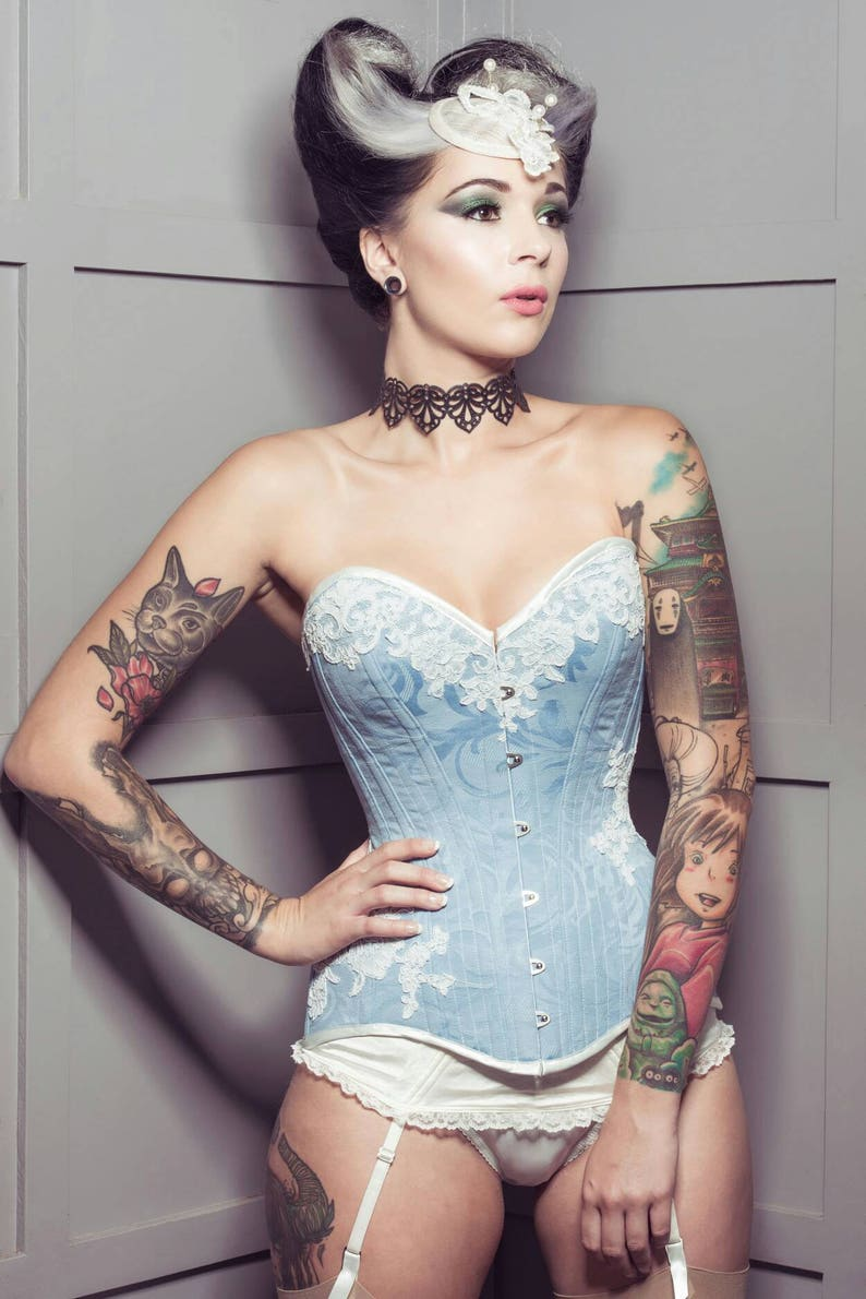 0ac46b44f9 BESPOKE Pale Blue overbust corset with Ivory Lace appliqué