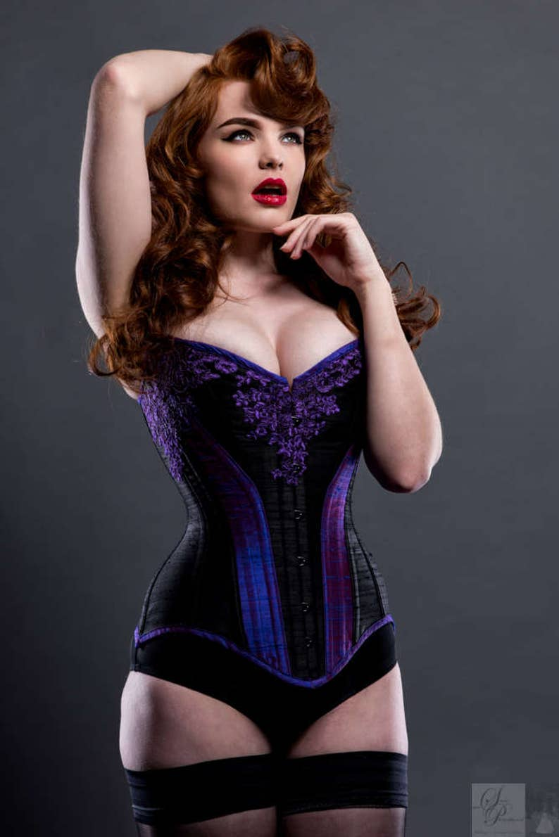 19ca05ca98 BESPOKE Ophelia overbust corset with Black Lace appliqué