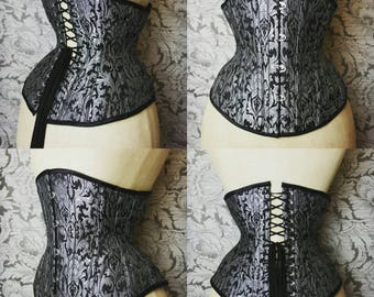 Silver brocade Cincher Waist training Corset