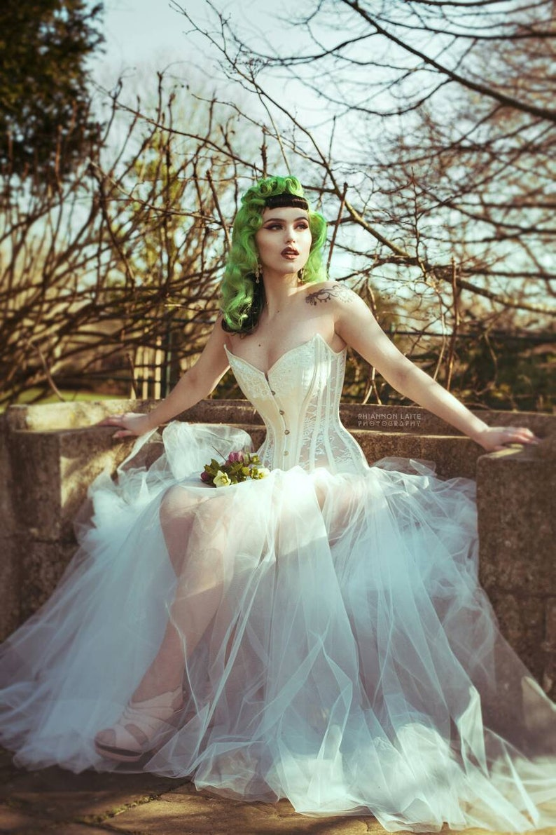 a434178425 BESPOKE Ivory and Sheer lace overbust corset