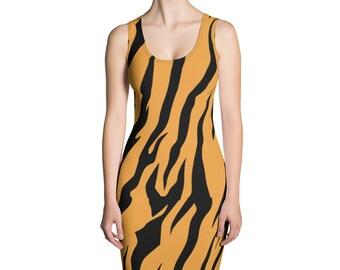 FREE SHIPPING Tiger Striped Womens Girls Animal Print Sublimation Cut /& Sew Dress Orange and Black Tiger Stripes Print Big Cat Dress