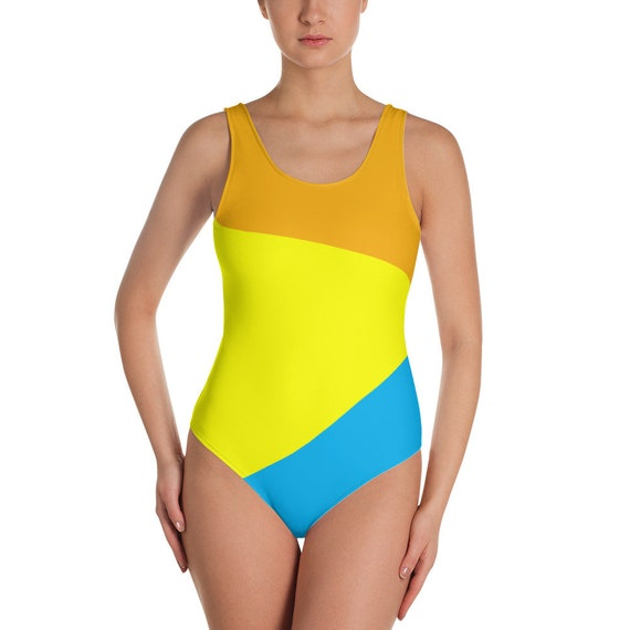 c6a98446f9 Color Block One-Piece Women's Swimsuit Cheeky Bottom | Etsy