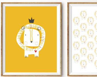 Baby Nursery 2 Prints Set Lion King. Yellow or Blue. Unframed. 8 x 10 inches