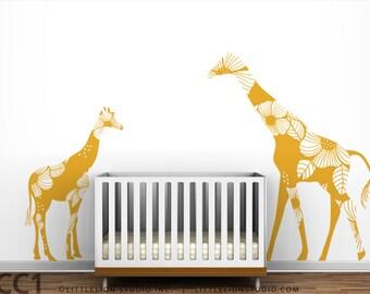 "Giraffe Baby Nursery Mural ""Mom and Baby Floral Giraffes"" Wall Decal"