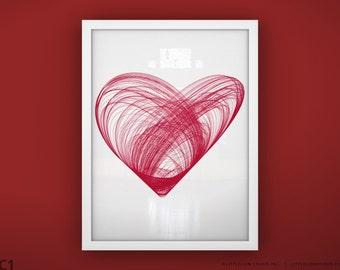 """Heart art print wall art - Unframed 11 3/4  x 15 3/4"""" - Heart Print"""