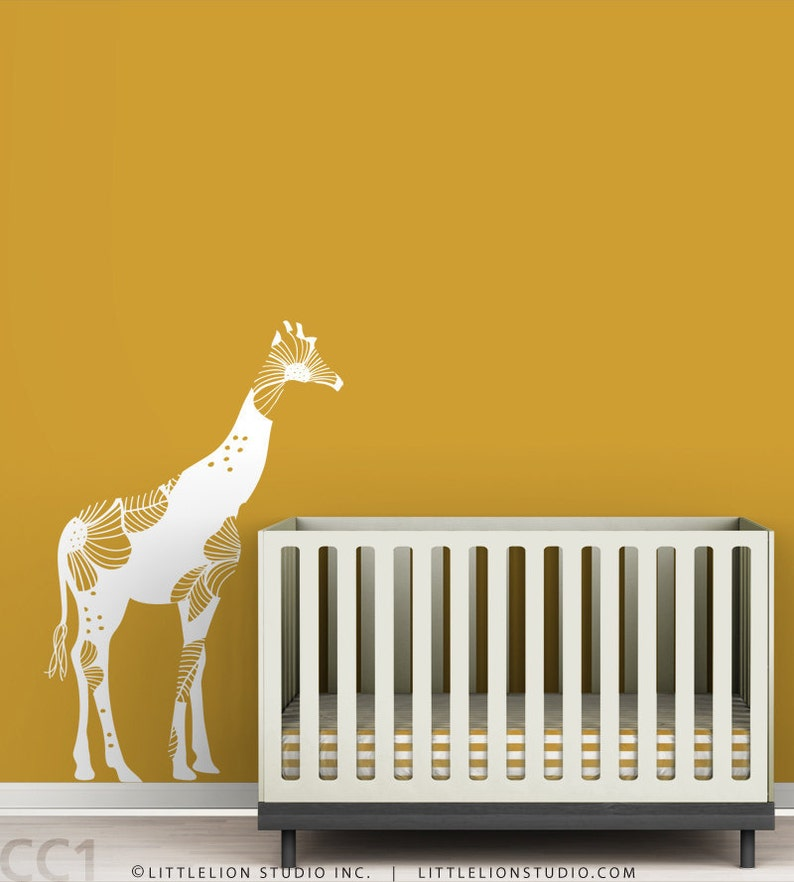 baby floral giraffe wall decal white decal bold floral | etsy