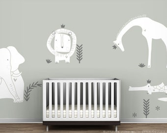 White Wall Decal Royal Safari Mural by LittleLion Studio. White and Grey Modern Baby Nursery Wall Stickers. Gender Neutral