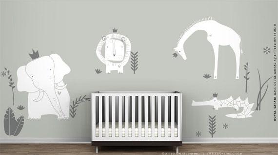 White Wall Decal Royal Safari Mural By Littlelion Studio Etsy