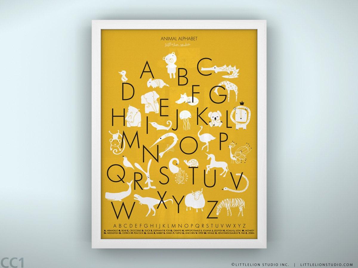 Kids alphabet poster wall art fun learning tools kids playroom | Etsy