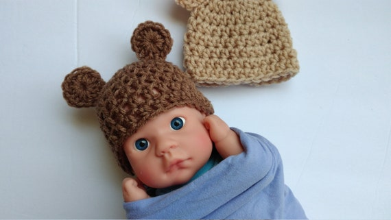 Micro Preemie bear Hat teddy Hat brown Bunny Tan Bunny  77d40f135989