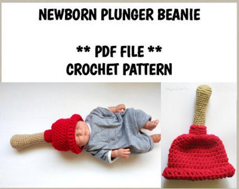 de7407cf1 Newborn Plunger Hat Beanie PATTERN, PDF File Pattern, Crochet Pattern,  Newborn Plunger Hat Pattern