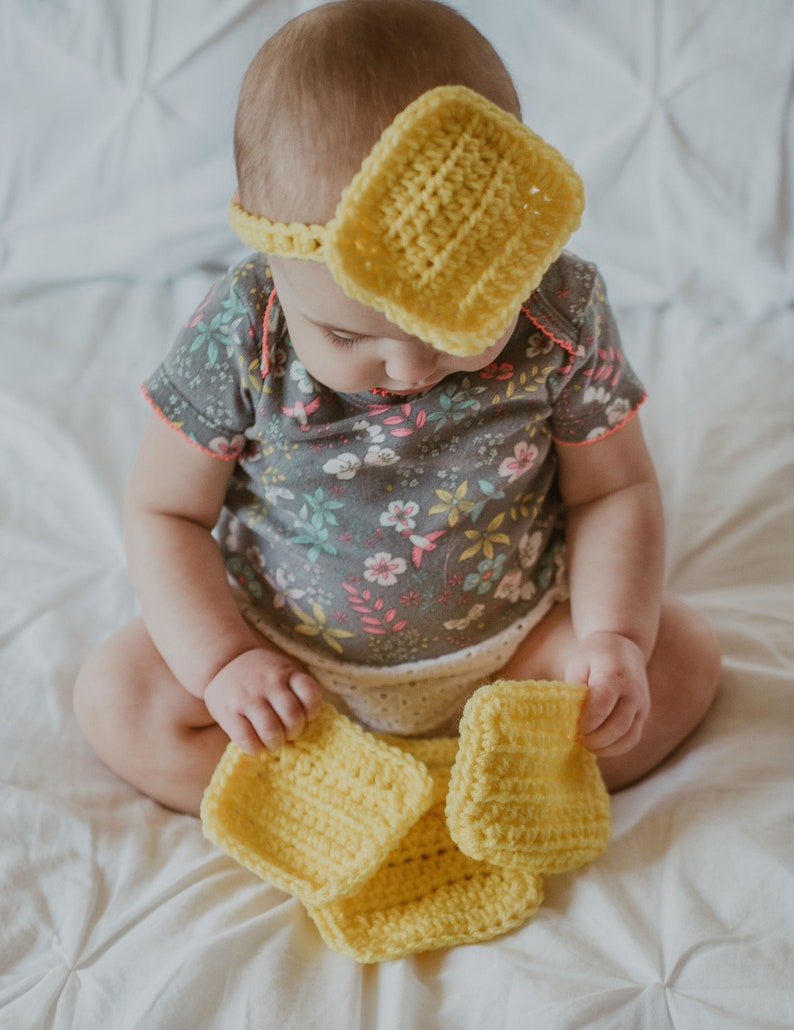 for new parents Cheese for baby multi-use crochet squares funny gifts wash cloth cup coasters crochet cheese Cheese slice Headband