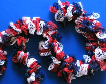 Sashay Patriotic Scarf, Red White and Blue, Ruffle Scarf, 4th Of July, American Flag Scarf, USA Scarf, Long Scarf, Womans Scarf