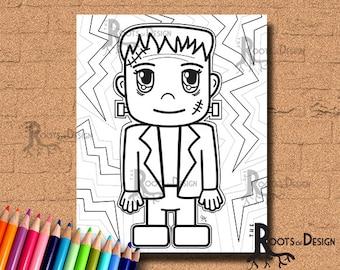 INSTANT DOWNLOAD Halloween Frankenstein Coloring Coloring Page Print, doodle art, printable