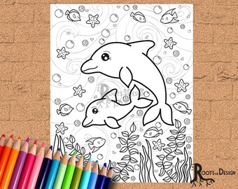 INSTANT DOWNLOAD Coloring Page Dolphin Art Print Doodle Printable