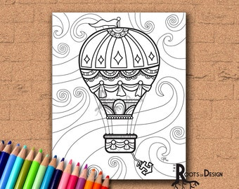INSTANT DOWNLOAD Coloring Page - Hot Air Balloon Vintage / Steampunk Style Print zentangle inspired, doodle art, printable