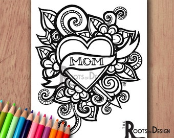 INSTANT DOWNLOAD Coloring Page - Mom Tattoo style / Mother's Day Print zentangle inspired, doodle art, printable