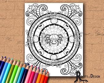 INSTANT DOWNLOAD Coloring Halloween Mandala Coloring Page Print, doodle art, printable